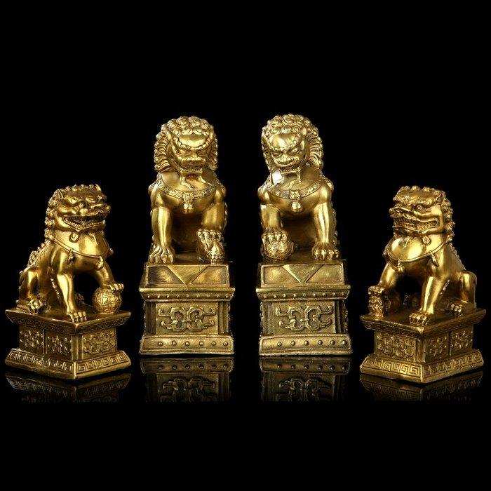 韓國Baby~易明居銅制獅子擺件大羅金獅開元鼎宮門獅工藝品一對