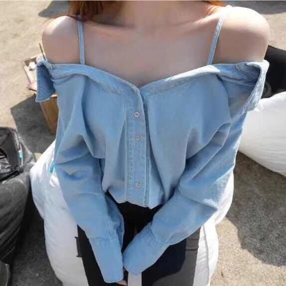 [現貨] 正韓國組㊣韓製  細肩帶露肩慵懶性感丹寧襯衫牛仔襯衫