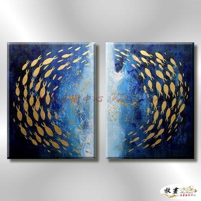 【放畫藝術】2拼金箔魚群P18 純手繪 油畫 直幅*2 藍底 冷色系 裝飾 掛畫 無框畫 民宿 餐廳 裝潢 實拍影片