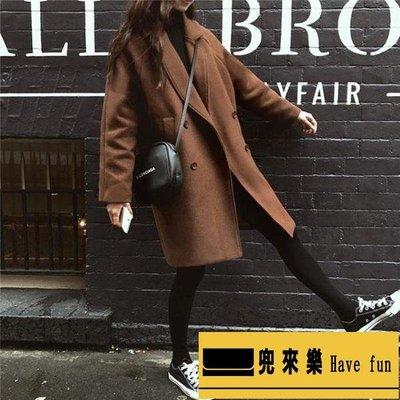 毛呢外套 秋冬新款女中長款赫本風韓版氣質顯瘦外套毛呢大衣【兜來樂】
