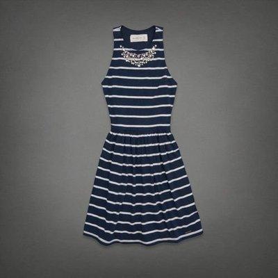 Maple麋鹿小舖 Abercrombie&Fitch * AF 深藍色條紋珠珠無袖洋裝* ( 現貨XS號 )