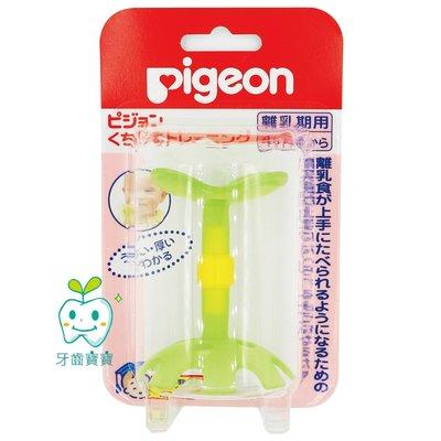 牙齒寶寶 日本 貝親 Pigeon 綠色小花 固齒器