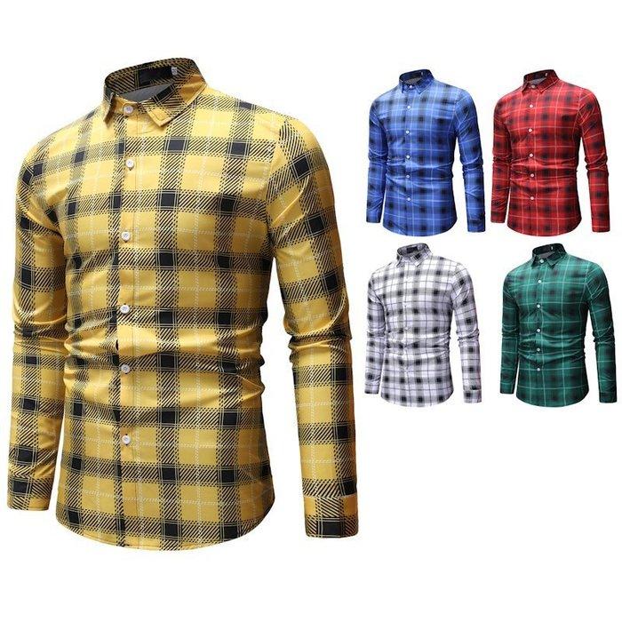 『潮范』  N3 新款外貿速賣通Ebay休閒格子拼接襯衫 大碼襯衫 男士長袖襯衫 格紋襯衫NRG260