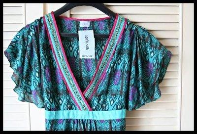 英國時尚品牌【OASIS】100% Silk 異國風印花手工繡珠深V蝴蝶結綁帶上衣罩衫