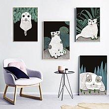 北歐風格慵懶萌寵可愛貓咪裝飾畫畫芯畫布高清微噴打印壁畫