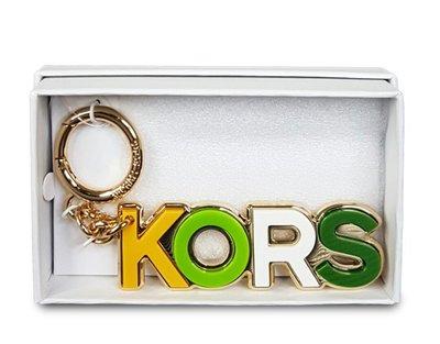 天使熊雜貨小舖~MICHAEL KORS-KORS LOGO鑰匙圈 包包吊飾  全新現貨
