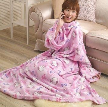 GIFT41 4165本通 三重店 Hello Kitty 凱蒂貓 KT 長袖 披毯/懶人毯/毛毯 粉色