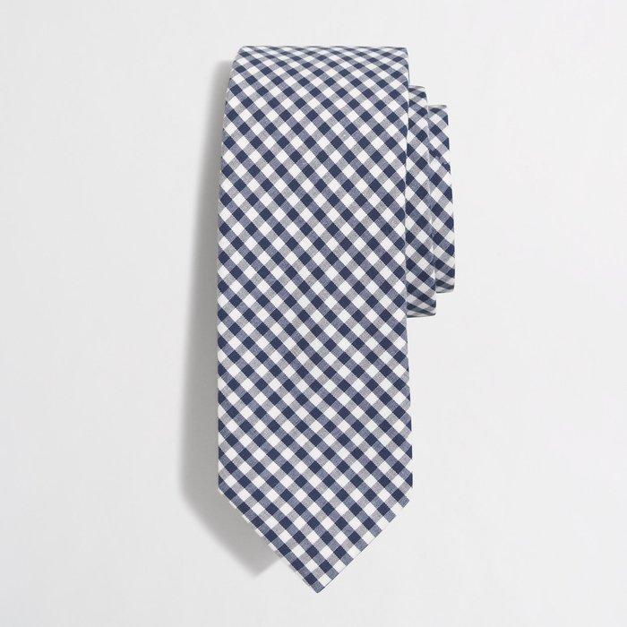 美國百分百【全新真品】JCrew 手打 領帶 JC 配件 窄版 Slim 時尚 型男 上班 雅痞 菱格紋 藍白 H033