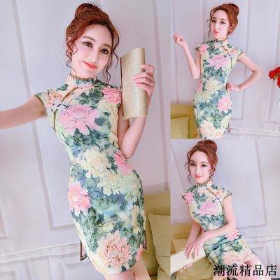 夏季旗袍新款立領復古印花性感收腰顯瘦修身開叉包臀連衣裙夏