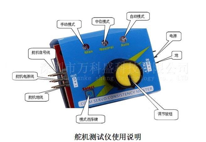 舵機測試器 航模馬達測試 電調測試器 簡易舵機測試儀 三檔指示燈