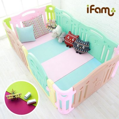 現貨 首圖訂製款 韓國代購 Ifam 遊戲墊+ Ifam圍欄(6片門板) 安全地墊 爬行墊 護欄 球池 遊戲城堡