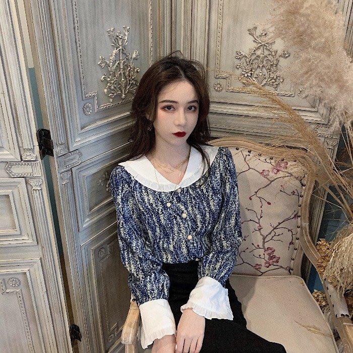 小香風 短袖T恤 時尚穿搭 法式復古襯衫女 韓版 時尚港味設計感小眾碎花上衣潮