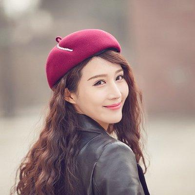 貝雷帽畫家帽-水鑽紅色毛呢俏皮女帽子73vt35[獨家進口][米蘭精品]