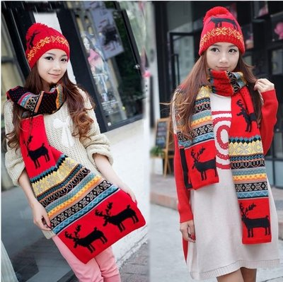 圍巾毛線帽子套裝聖誕組麋鹿秋冬時尚款街頭潮人免運費 Display