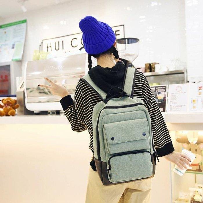 筆電包韓版帆布大容量牛津後背包女百搭多功能學生筆電包男休閒旅行背包
