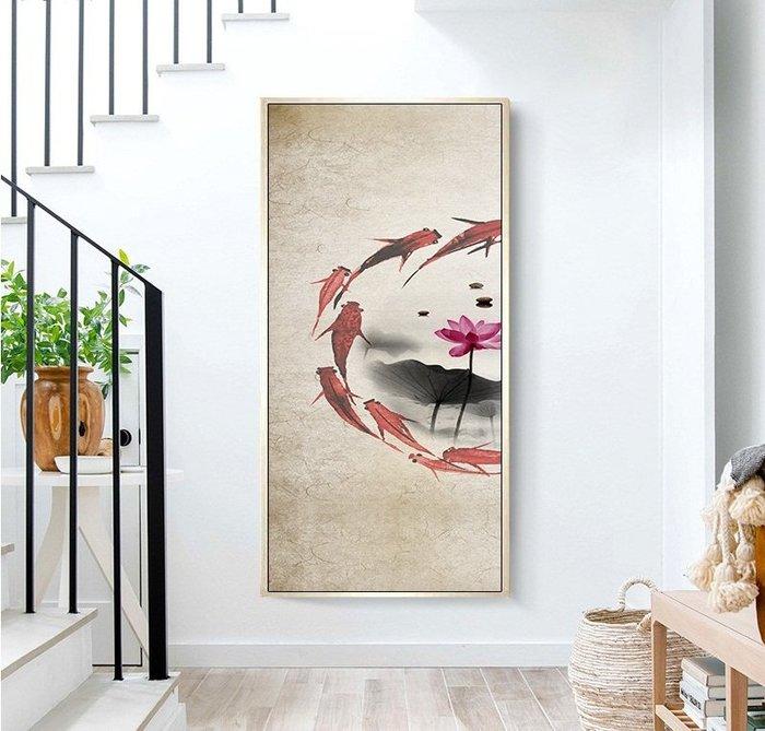 中式水墨意境禪意荷花金魚戲水畫芯客廳背景牆過道玄關(3款可選)