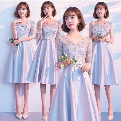 灰色伴娘服姐妹裙韓版中長款伴娘禮服女新款短款伴娘團小禮服洋裝   全館免運