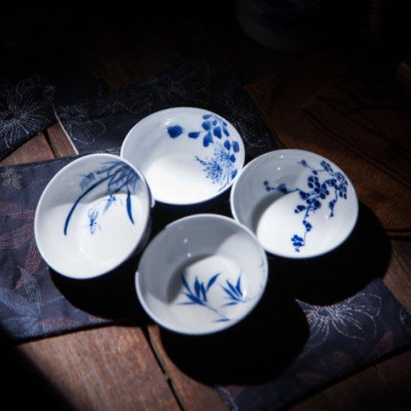5Cgo【茗道】含稅會員有優惠  42714955821 景德鎮陶瓷手繪青花品茗杯主人杯全手工功夫茶杯單杯一組4個