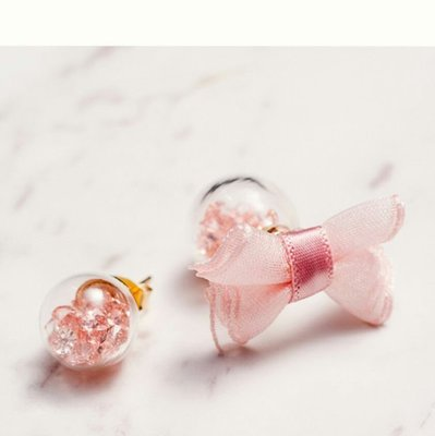粉紅珠珠粉紅緞帶蝴蝶結耳環大力丸耳環
