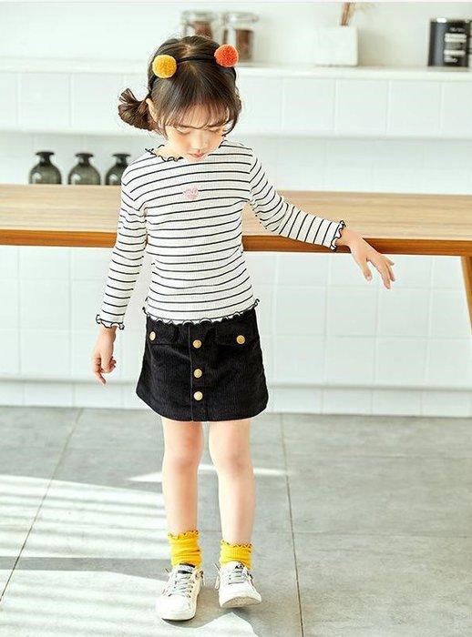*蜜寶貝*中小女童- 長袖上衣 條紋百搭打底衫8018 尺寸90-130CM 約2-8歲-0021