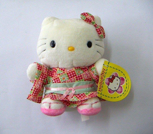 陽光一品~Hello Kitty- KT和服.浴衣絨毛娃娃(中/坐姿)-- 紅格衣