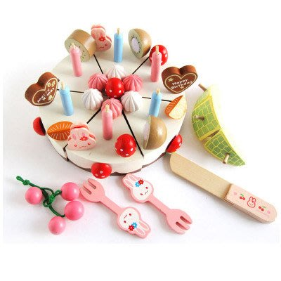【晴晴百寶盒】木製兔子蛋糕家家酒 寶寶过家家玩具 角色扮演 積木 秩序智力提升 練習 禮物 平價促銷 P089
