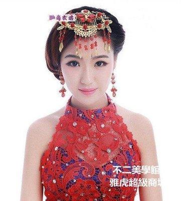 【格倫雅】^新娘相思引流蘇發梳中式紅色珍珠結婚頭飾秀禾服禮服旗袍發飾發飾[g-l-y52