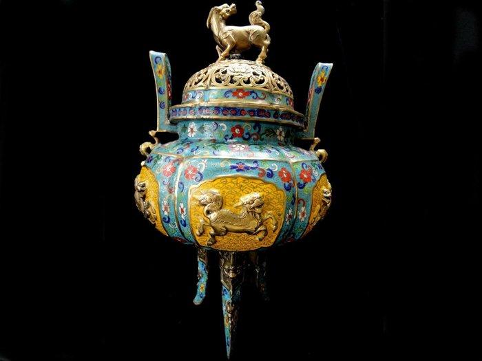 藏雅軒-大陸國寶-大型景泰藍銅爐-雙耳三足鼎-七寶麒麟