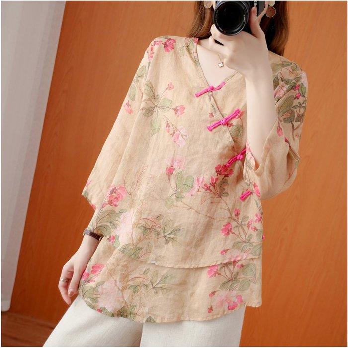 朵拉韓國賣場民族風棉麻盤扣2020夏季新款文藝寬松大碼薄款七分袖襯衫女士上衣