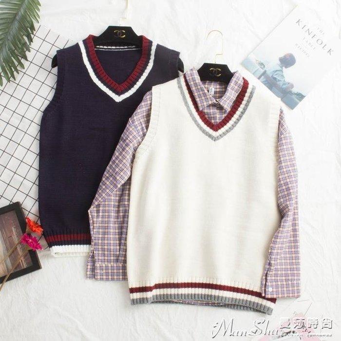 熱銷針織馬甲新款春秋韓版寬鬆學院風百搭針織馬甲女背心毛衣學生毛線