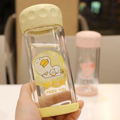 杯子 簡約森系水杯韓版創意可愛牛奶杯雙層隔熱杯子透明帶蓋玻璃杯防漏