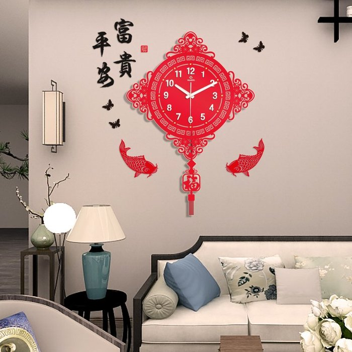 歐式掛鐘 中式靜音萬年曆 新中式鐘表掛鐘客廳創意超靜音藝術夜光家用時尚中國風裝飾石英鐘