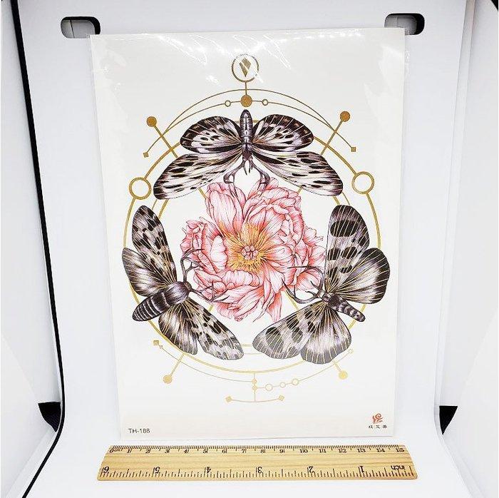 【萌古屋】花朵飛蛾手臂大圖 - 防水紋身貼紙刺青貼紙TH-188