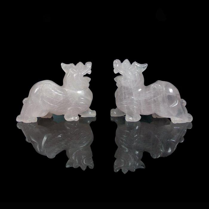 《博古珍藏》天然巴西粉晶貔貅一對.488公克.頂級水晶.鎮宅開運辦公室擺飾.愛情寶石招桃花.底價回饋