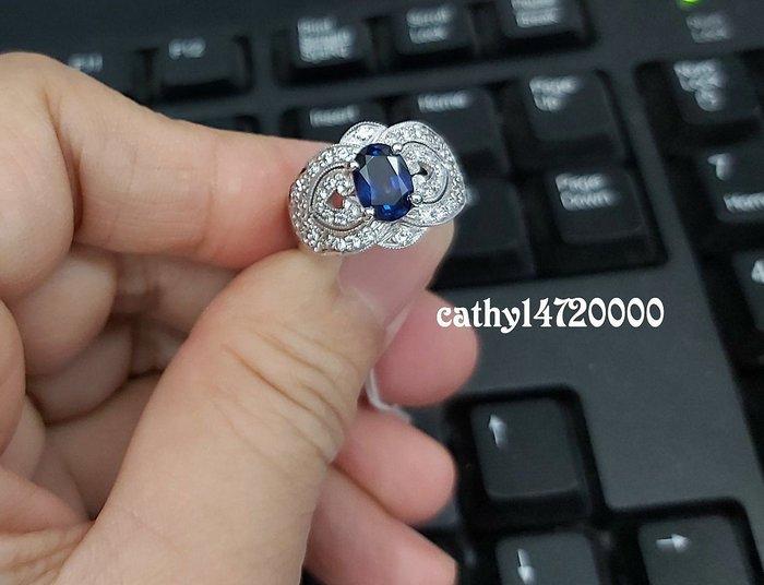 。☆凱希小舖☆。 天然藍寶石(鑽石) 純k金戒指no.836