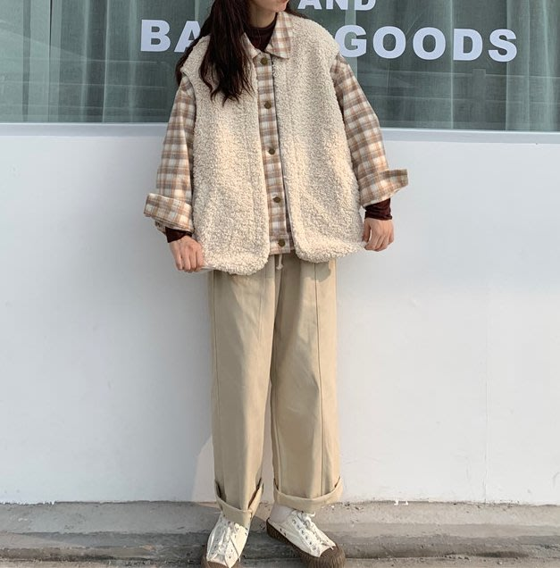 SeyeS    率性女孩outdoor混搭羊羔毛x格子假二件襯衫/外套+卡其直筒褲