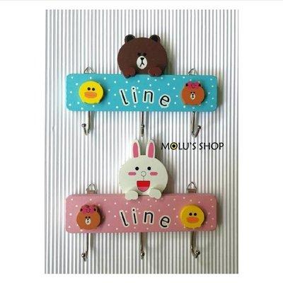 Line熊大/可妮兔 卡通原木三連掛勾 木製裝飾掛鉤 壁貼鑰匙掛口罩掛壁飾