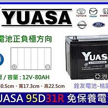 ☆銓友電池☆桃園電池☆實體店面 YUASA 95D31R 免保養汽車電池 GRAND STAREX 2.5柴油