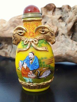 【清 乾隆年製】 鎏双羊金頭 琉璃砝瑯彩  鼻煙壺