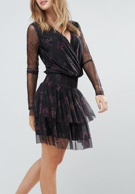 丹麥潮流時尚品牌Gestuz黑色雪紡透膚紗質感洋裝Mesha Floral Print Mesh Armed Dress