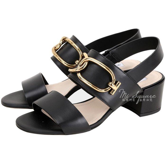 米蘭廣場 TOD'S 寬版金屬環釦粗跟涼鞋(黑色) 1920289-01