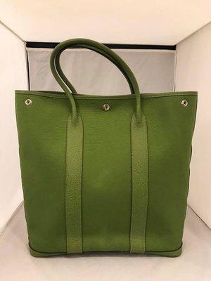 【RECOVER 名品二手】HERMES 綠色帆布直式 GARDEN PARTY.100% 愛馬仕 真品 .965-34