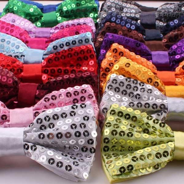 5Cgo【鴿樓】 20577475616 成人男女兒童通用亮片領結 結婚表演出大合唱蝴蝶結雙層15種顏色可選- 5個/組