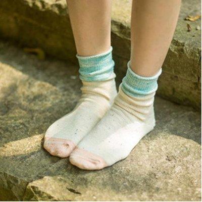 50%OFF【W09435SK】新品 日系 純棉 拼色 粗線 點子沙寬口卷邊堆堆襪子 女襪