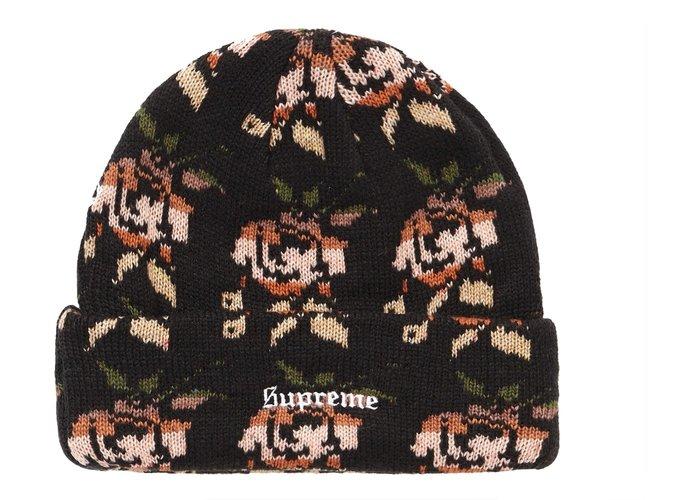 【美國鞋校】預購 Supreme FW18 Rose Jacquard Beanie 玫瑰刺繡 毛帽 4色 黑白紅深藍