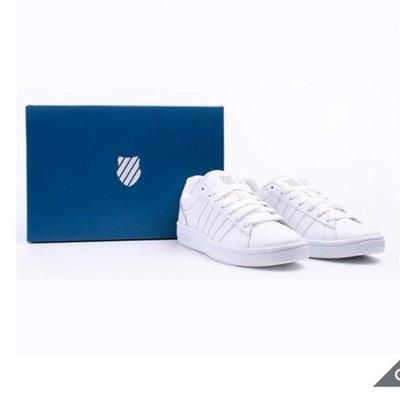 正品 K-Swiss 女復古休閒網球鞋 基本款復古鞋 品牌經典條紋鞋面 耐磨橡膠大底-白色條紋