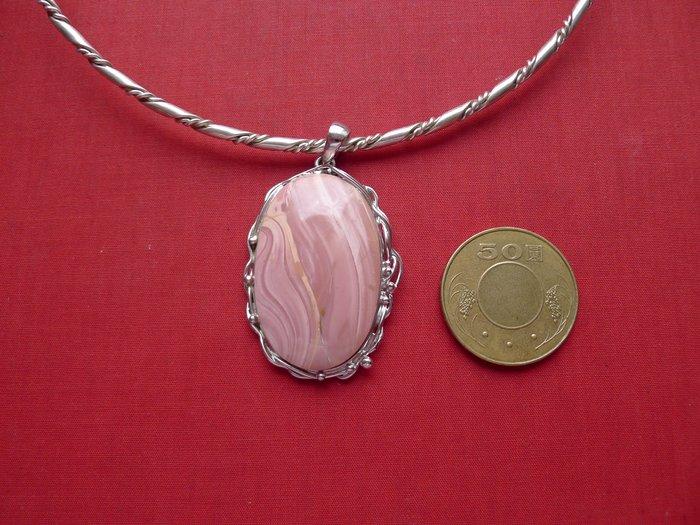 【銀工坊  單一價】925純銀天然粉紅蛋白銀墜(05)~~給第一標
