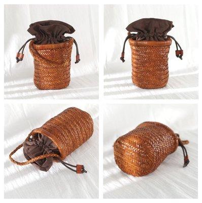 **蛻變英倫**韓國限定版連線熱賣高品質訂製歐美頂級款日系古著真皮手工編織水桶包手提包女小包洋氣頭層植鞣牛皮手拎包