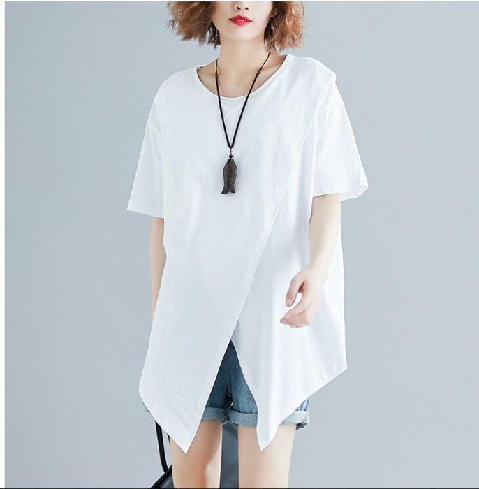✿ 吉米花 ✿ 特價~ B-077797 百搭個性不規則短袖上衣t恤 ( 白 2XL ) 全碼  現貨