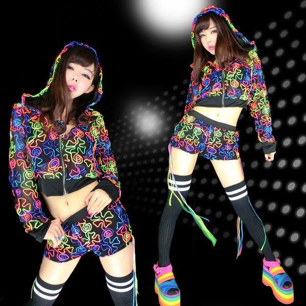 5Cgo【鴿樓】會員有優惠 40917640172 嘻哈風爵士舞服裝嘻哈外套嘻哈褲長袖熒光線條連帽上衣套裝 嘻哈街舞服